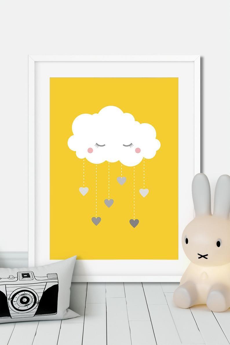 Affiche Nurserie Jaune Et Gris Decoration Chambre Enfant Nuage
