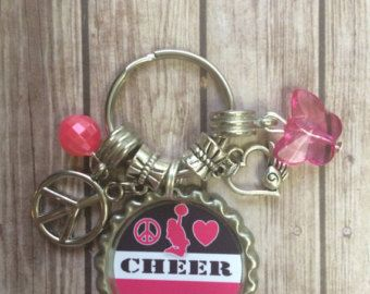 CHEER Keychain Bottle Cap Cheerleader Cheerleading Gifts Heart Peace Bottlecap Charm Cheer Coach Girls Present Competition Friends