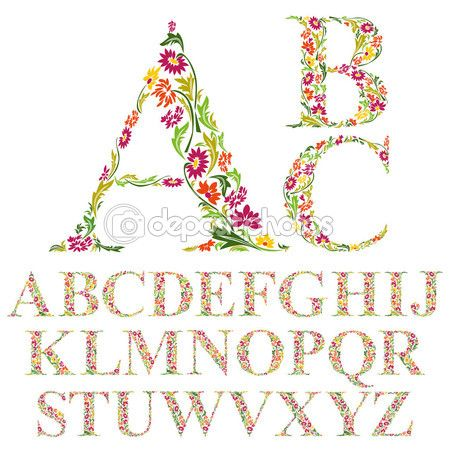 Lindo alfabeto de flores Fotografias, Ilustrações, Imagens e Arte Vetorial de Stock   Depositphotos®