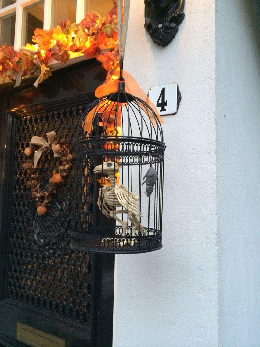 Halloween Bird skeletton in Cage www.partyinstyle.eu