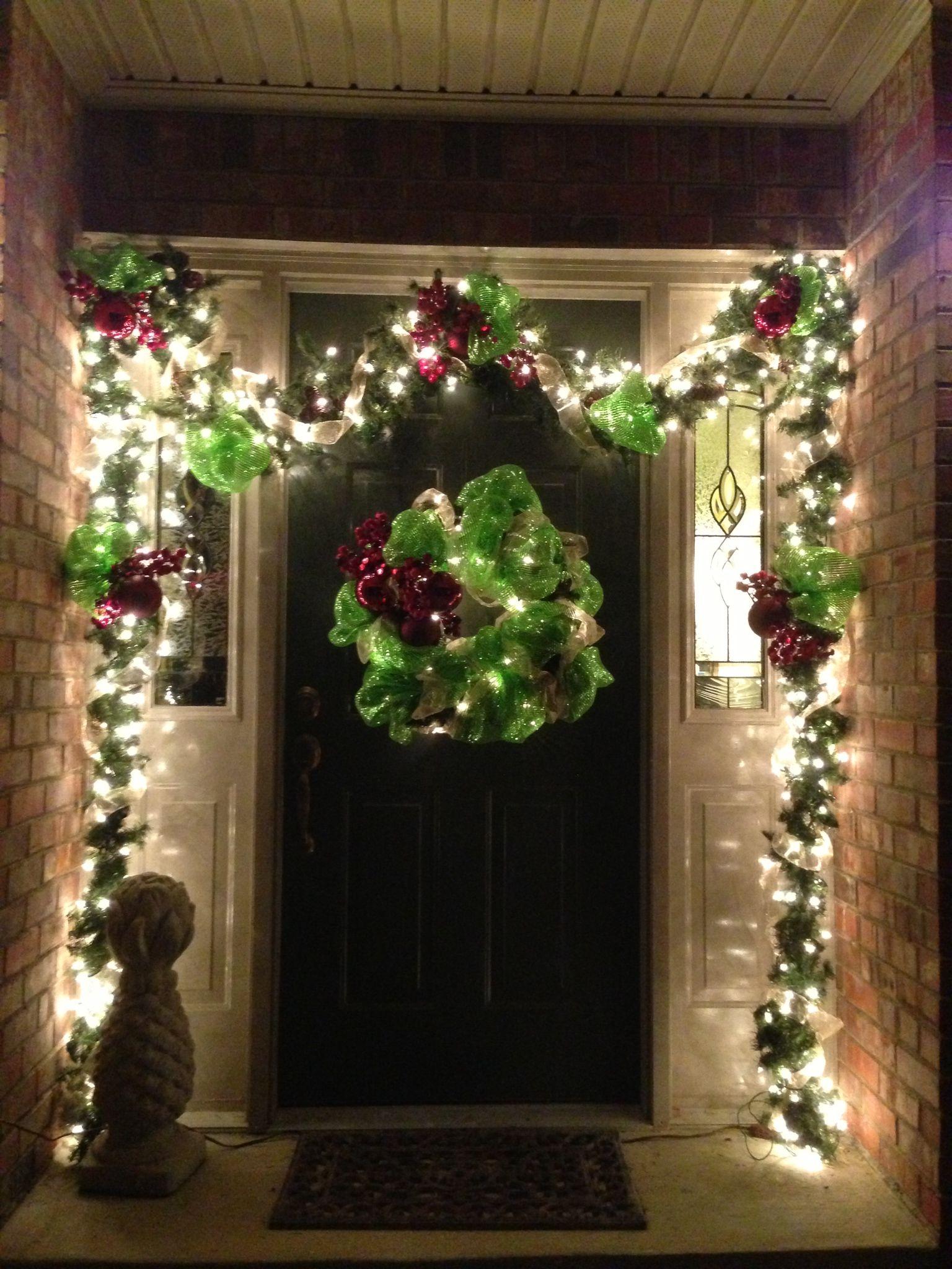 Christmas Decor Frontporch Diy Brightgreen Mesh Wreath Garland Outdoor Christmas Decorations Christmas Door Decorations Christmas Garland