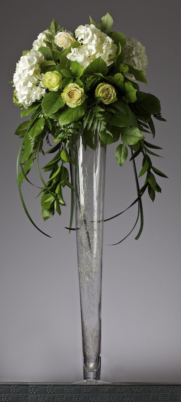 White and green tall wedding centerpiece designs by