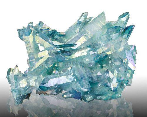"""6 1"""" Flashy Turquoise blue Aqua Aura Quartz Terminated Crystals Arkansas"""