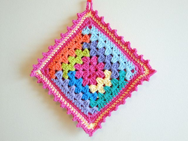 log cabin potholder, 5mm | Crochet | Pinterest | Patrones, Cabina y ...