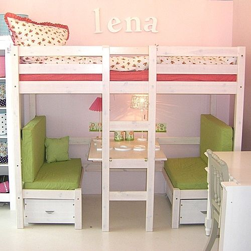 Loft bed with booth underneath that also turns into a bed!
