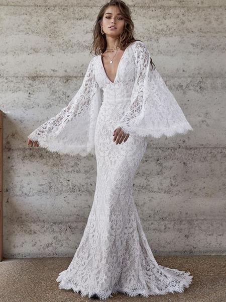 Flared Sleeve Backless V Neck Evening Dress Bell Sleeve Wedding Dress Choose Wedding Dress Wedding Dresses