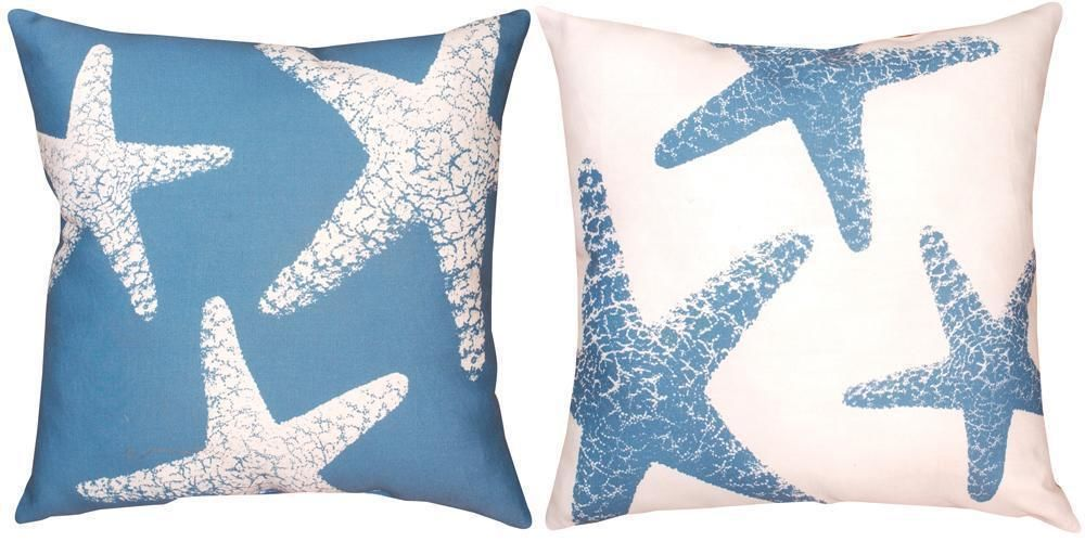 Pair of Blue / White Starfish Reversible Indoor / Outdoor Throw Pillows