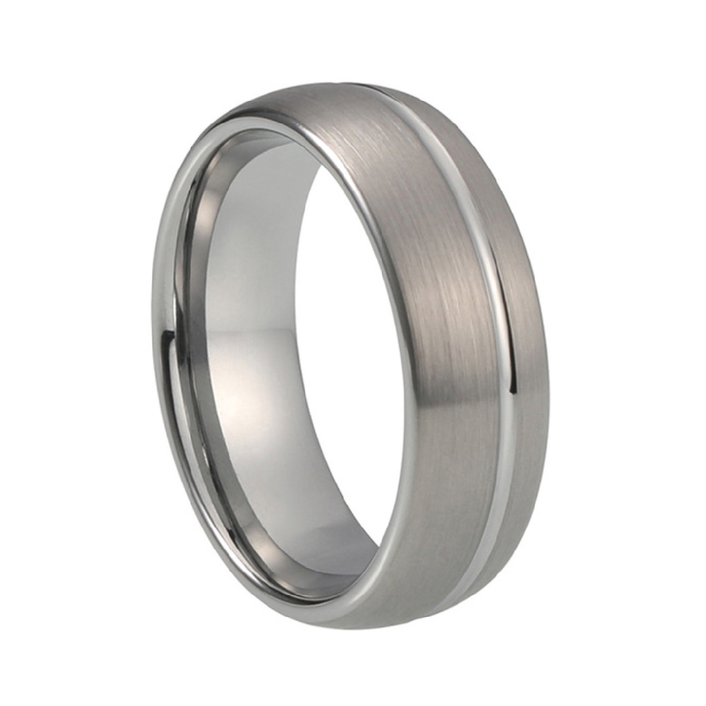 Custom Classic Brushed Tungsten Ring with Offset Stripe