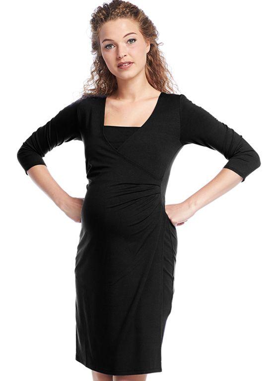 0c502c8e134c Queen Bee Surplice Wrap Maternity Nursing Dress in Black by Queen mum