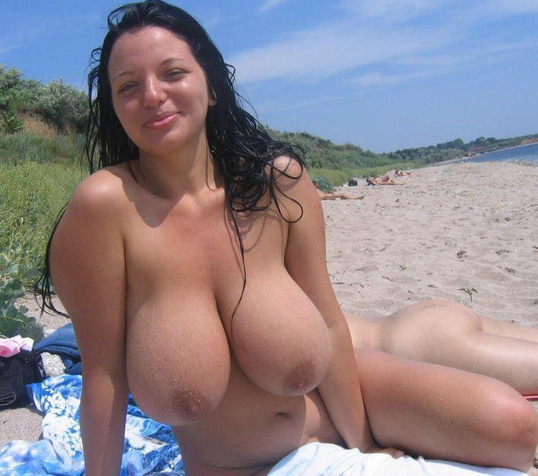 Big boobs topless beach
