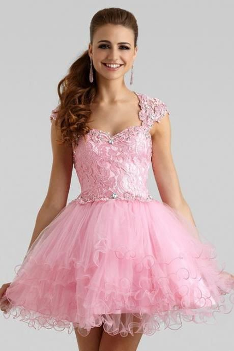 Cutie Short A-Line Christmas Party Dress Formal Pink Puff Party Gown ...