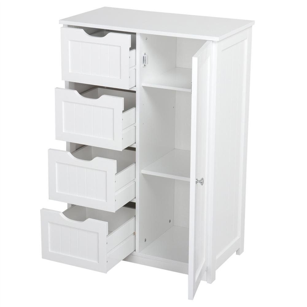Yaheetech Wooden Bathroom Floor Cabinet Side Storage Organizer Cabinet With 4 Drawers And Bathroom Floor Cabinets Wooden Bathroom Floor Small Bathroom Storage [ jpg ]