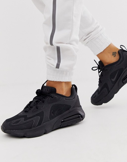 Nike black Air Max 200 sneakers Sorte nikes, Blokhæl  Black nikes, Block heel