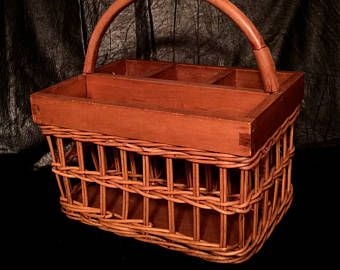 Useful Wicker and Wooden Silverware Basket , Divided Basket with ...