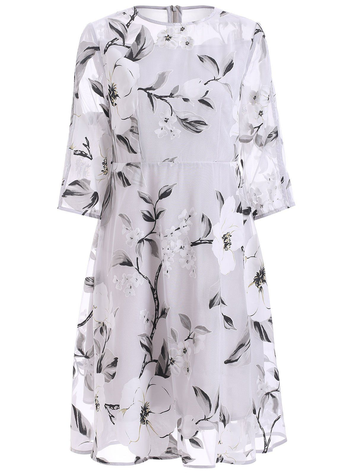 sleeve floral print seethrough dress white l floral