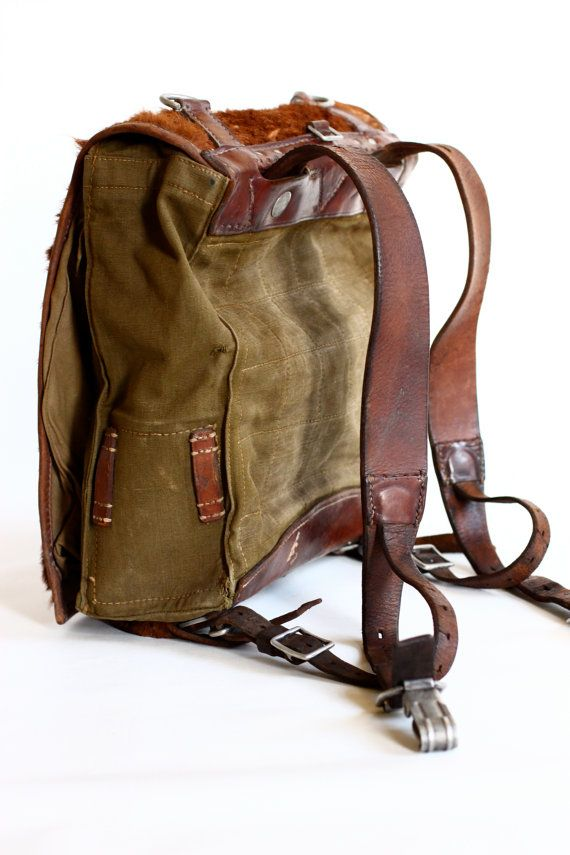 Ww2 Backpack Leather Canvas And Cowhide Rucksack