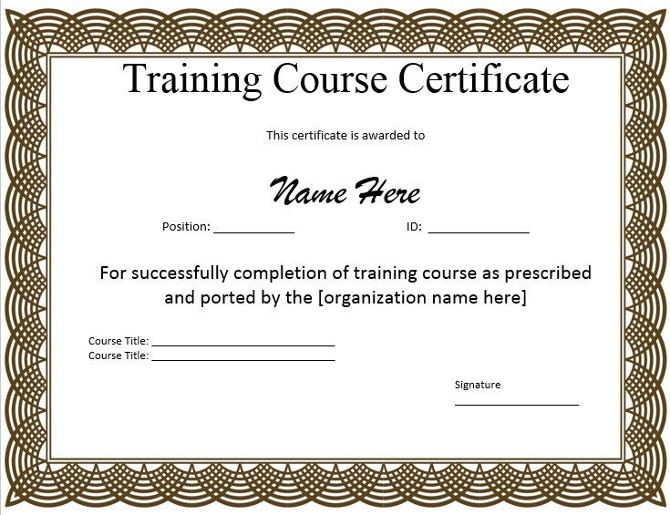 10 Training Certificate Templates Word Excel Pdf