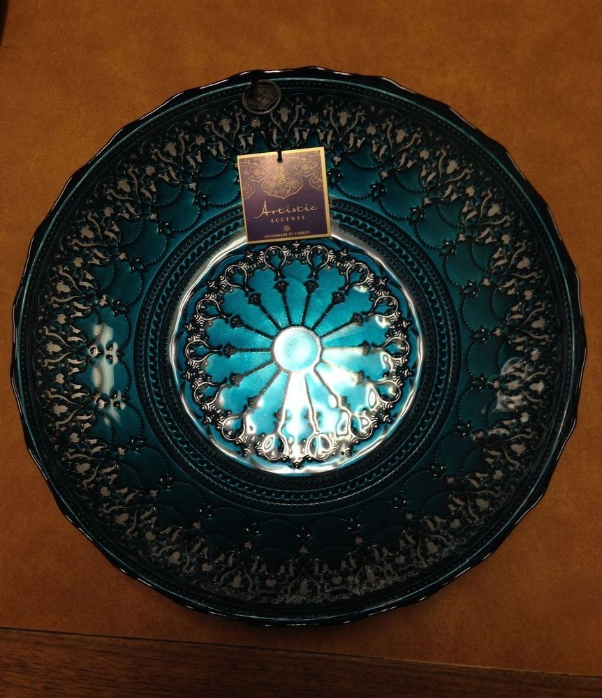 new with tag artistic accents handmade in turkey blue teal  - new with tag artistic accents handmade in turkey blue teal  silver decorbowl