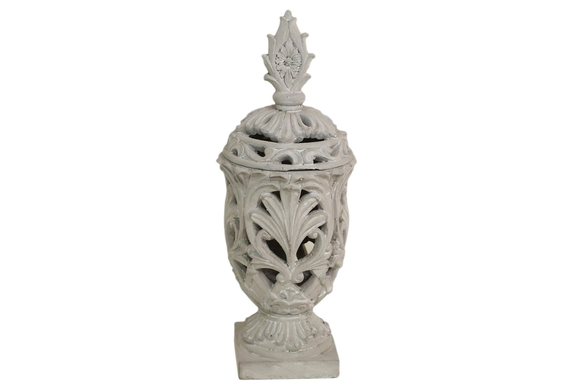 One Kings Lane - French Romance - Stone Pierced Candleholder, Small