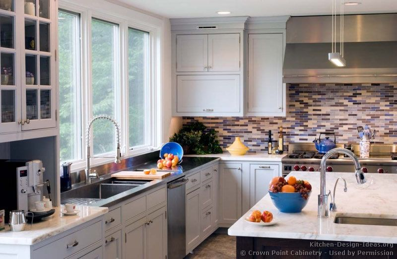 Transitional kitchen design with blue highlights