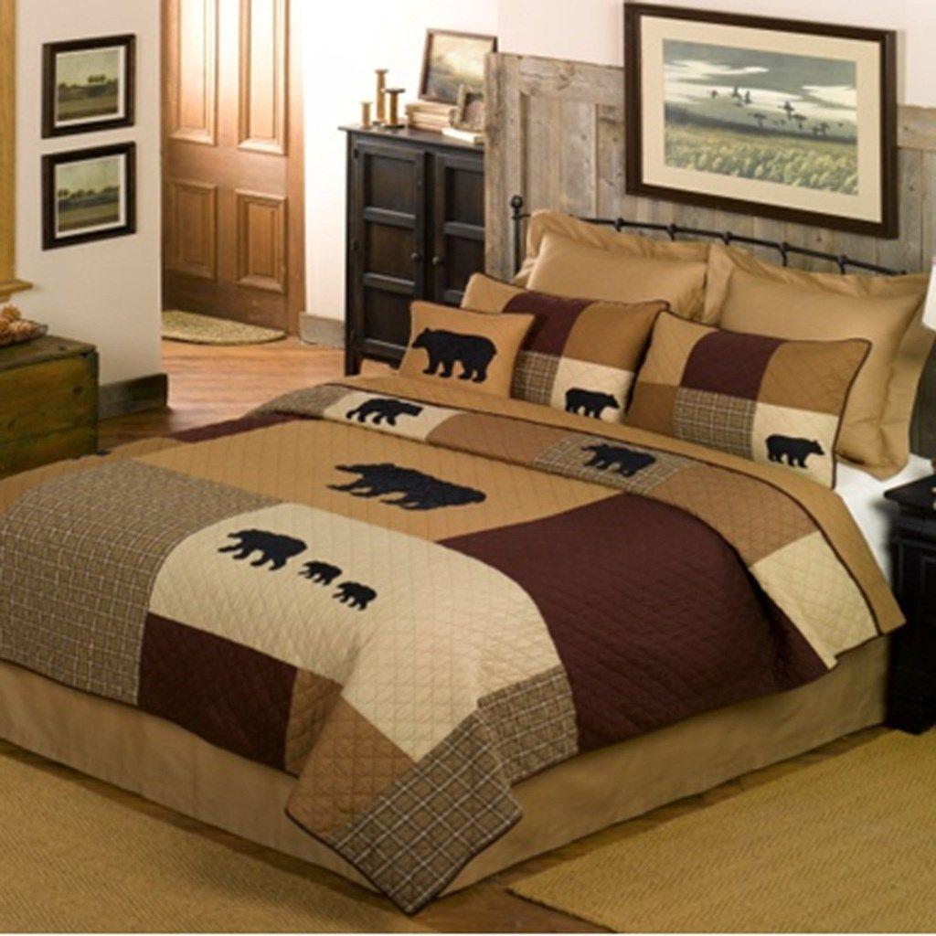 Basement q Black Bear Quilt - Queen | Home Furniture | Bedding Decor Pillows  | Quilts