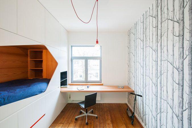 Witte inbouwkasten met ingebouwd bed kinderkamer kinderkamer