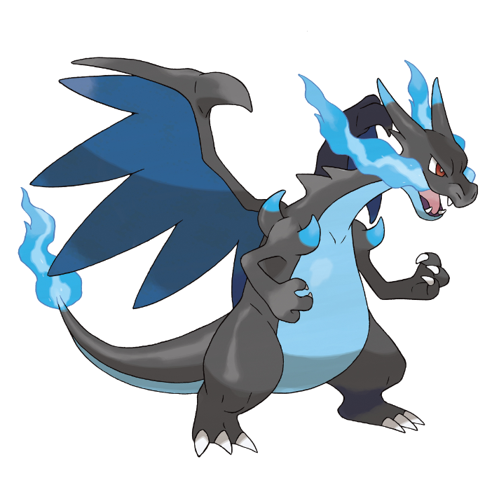 mega charizard x 006 when expelling a blast of superhot fire the red flame at the tip of its tail burns more intensely