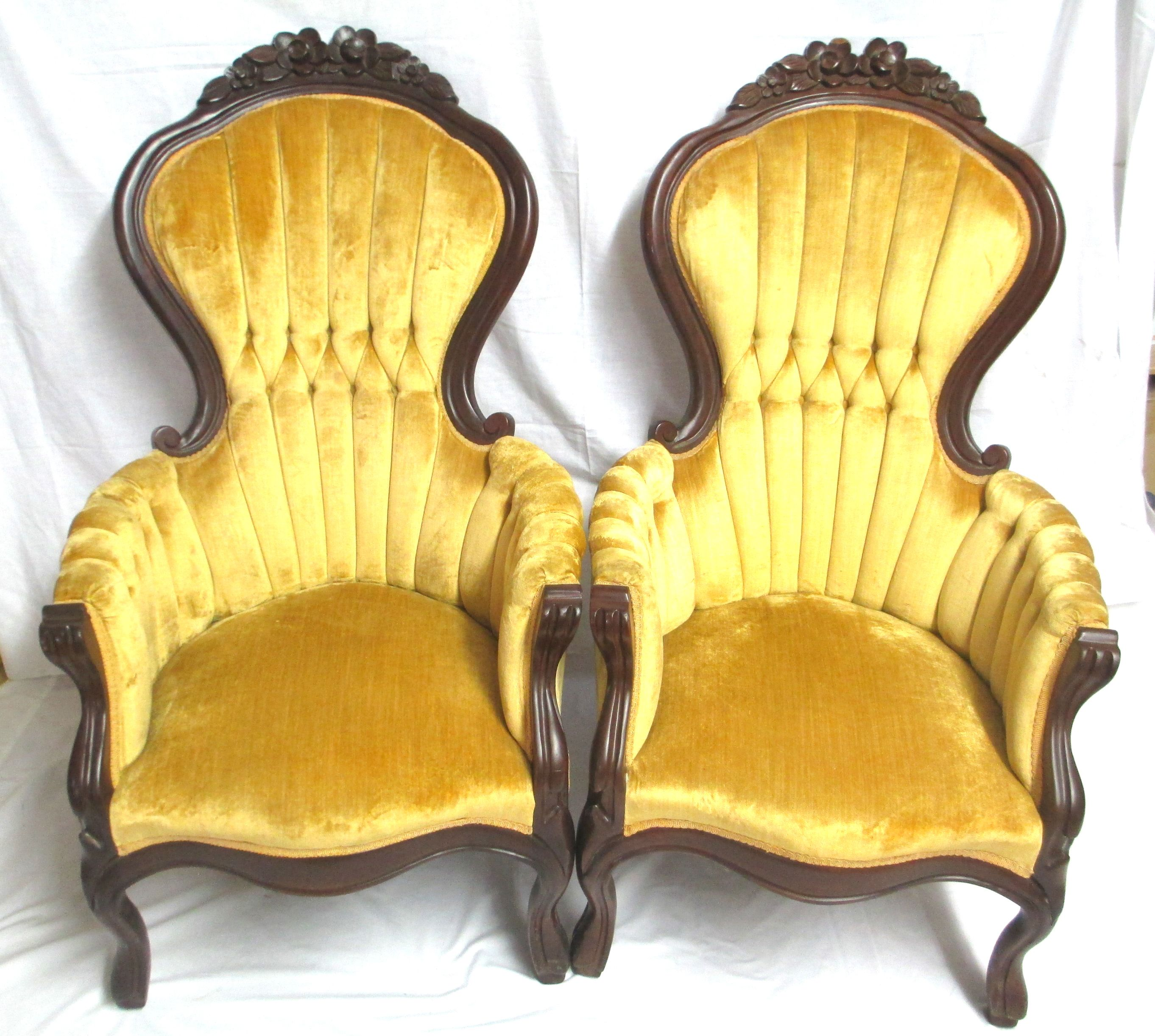 Pair of Vintage Kimball Victorian Rose Carved Highback Chairs