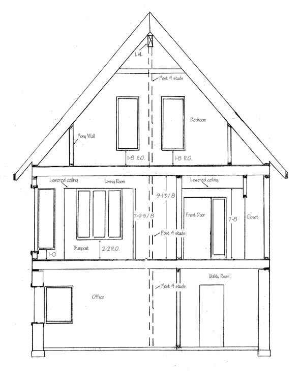 How To Draw House Cross Sections House Drawing Section Drawing Cool House Designs