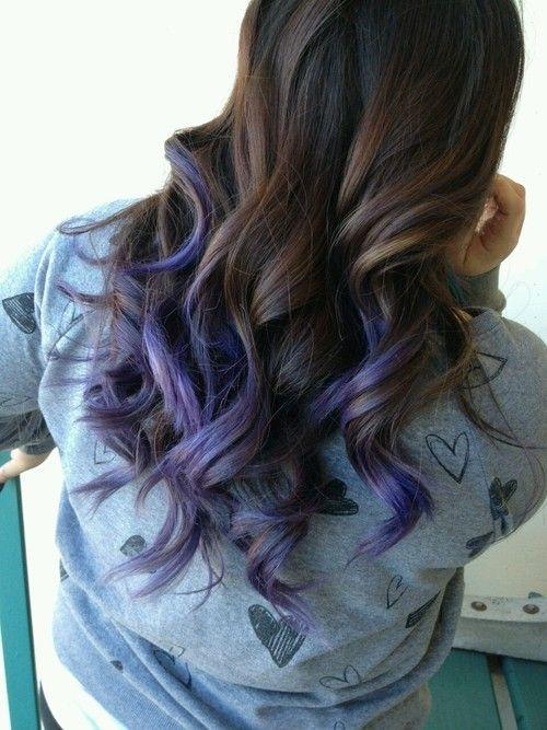 Purple Hair Yaaaaaaaaaaaas Purple Hair Tips Blue Tips Hair Brown Hair With Blonde Highlights