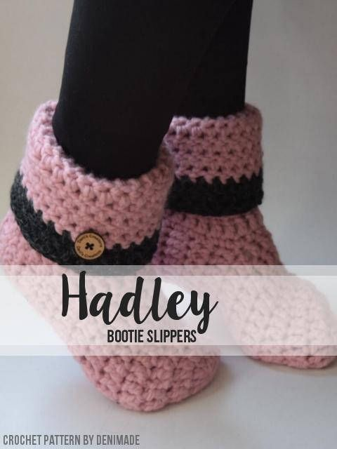 Crochet Pattern Hadley Booties Slippers Easy Denimade