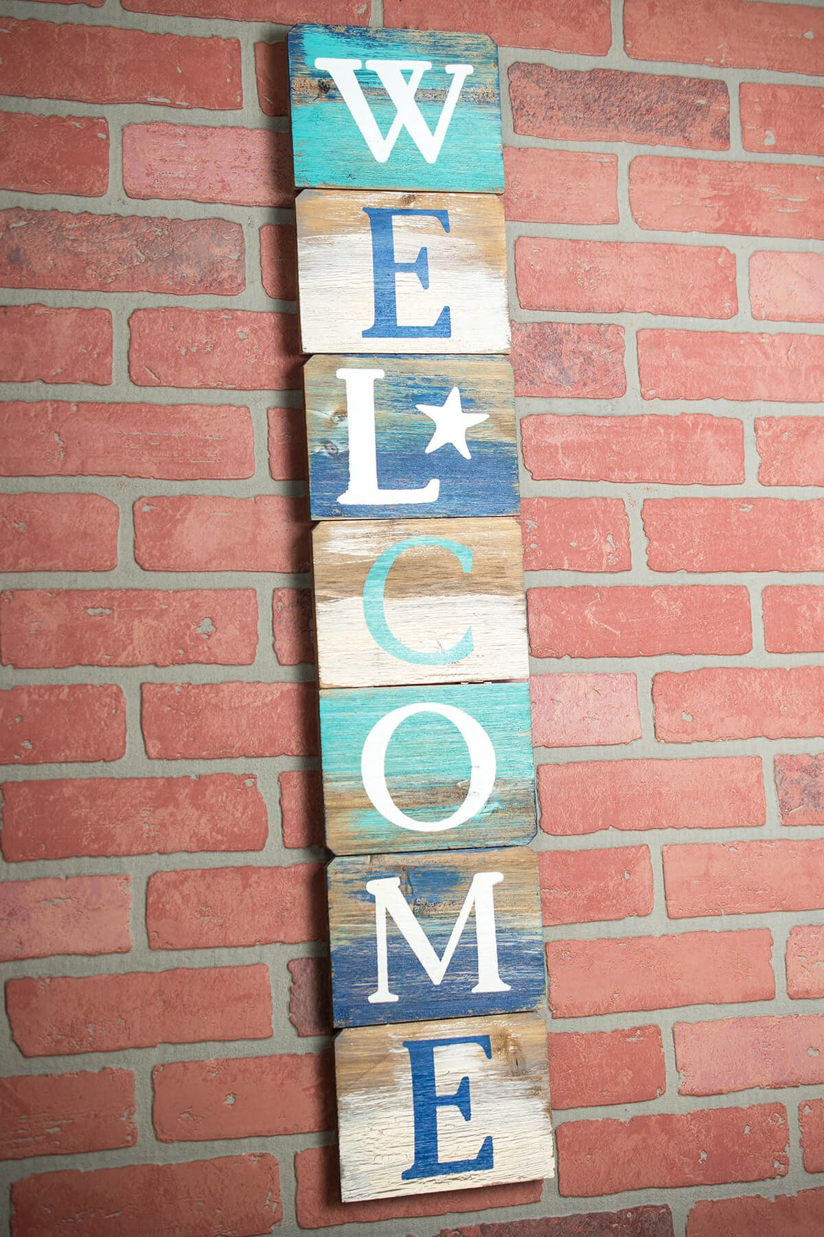Welcome Sign Beach Decor Vertical 34 Inches Wooden Welcome