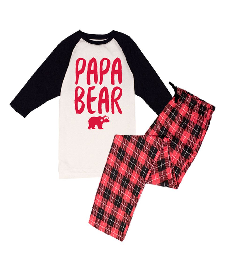 9cd9590404 Black   White  Papa Bear  Pajama Set - Men by Slumber Party  zulilyfinds
