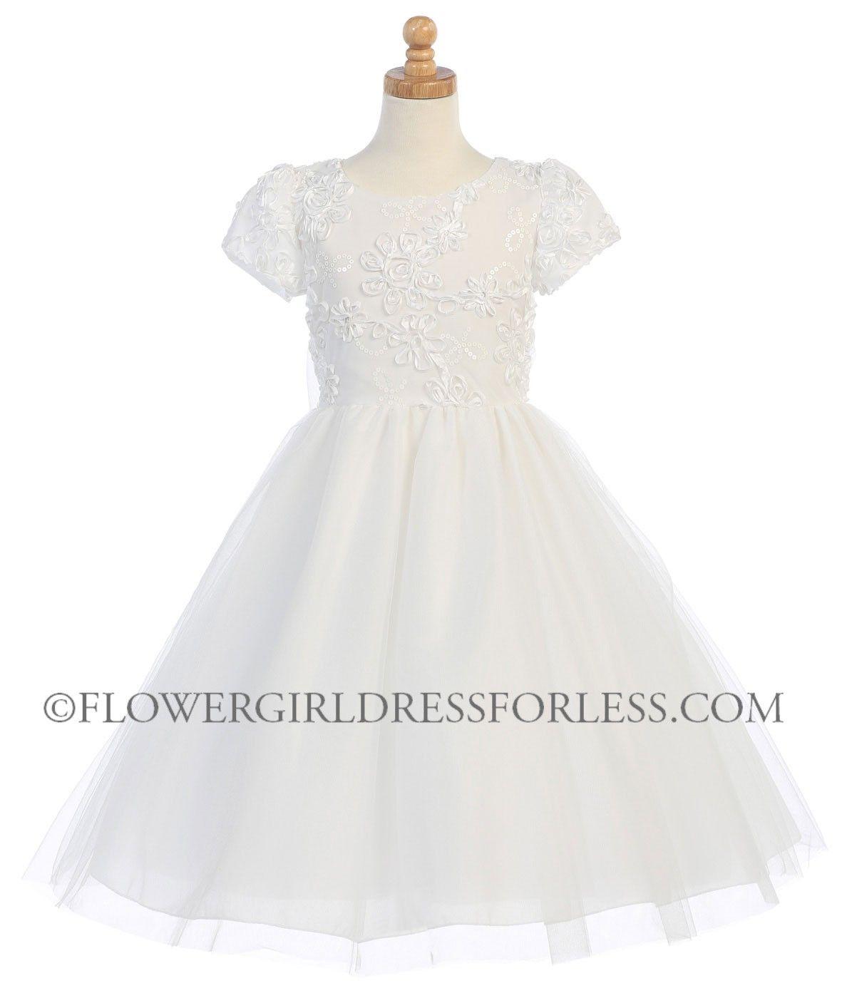 Girls flower girl dress style sp short sleeved ribbon