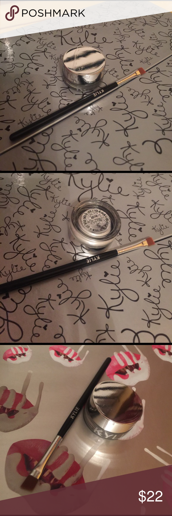 Kylie Snow Gel Liner and brush New, part of holiday collection. 100% authentic. Kylie Cosmetics Makeup Eyeliner
