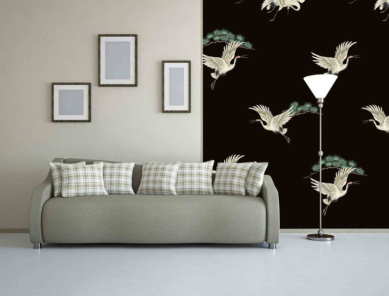 Cranes Peel And Stick Japanese Bird Crane And Butterflies Peel Etsy Self Adhesive Wallpaper Large Wall Murals Removable Wallpaper