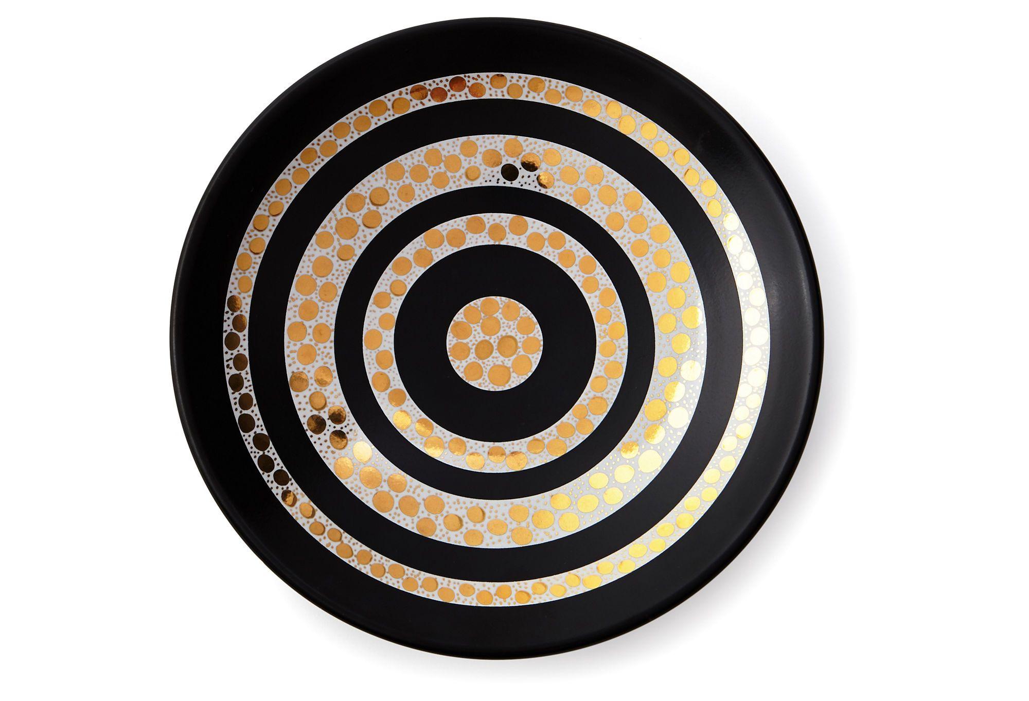 "9""Dia Circles Bowl, Black/Gold"