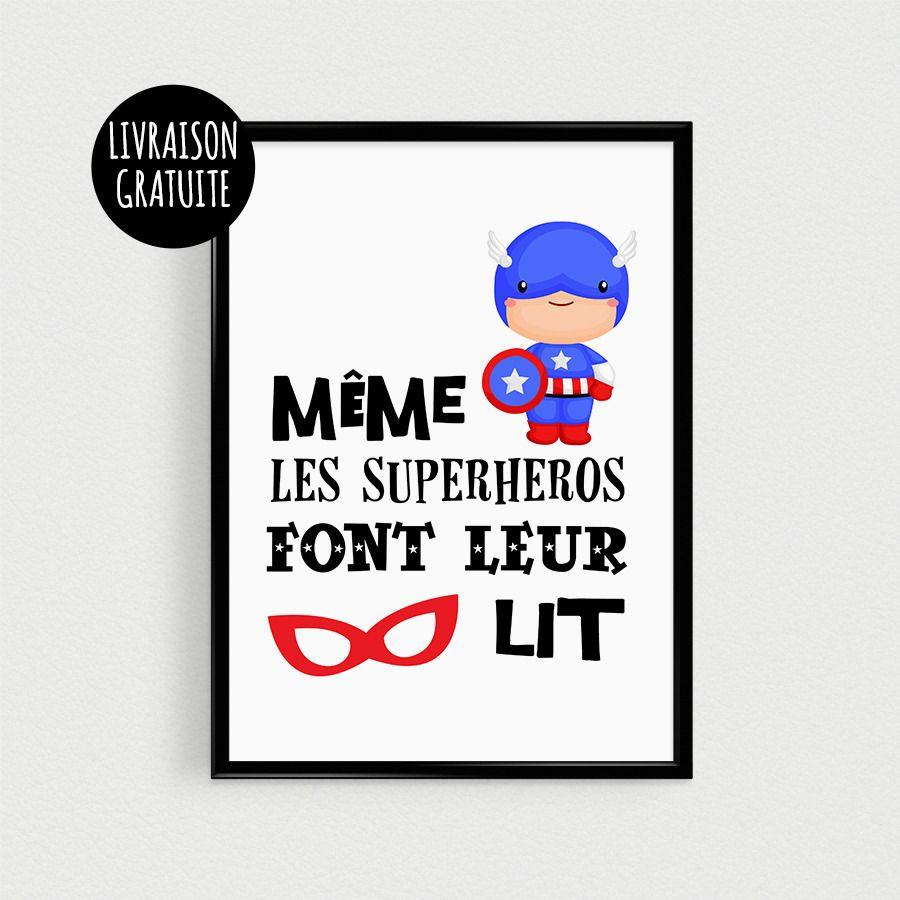 Poster a4 super h ro pour chambre d 39 enfant m me les superh ros font leur lit affiche - Deco chambre super heros ...