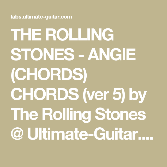 The Rolling Stones Angie Chords Chords Ver 5 By The Rolling