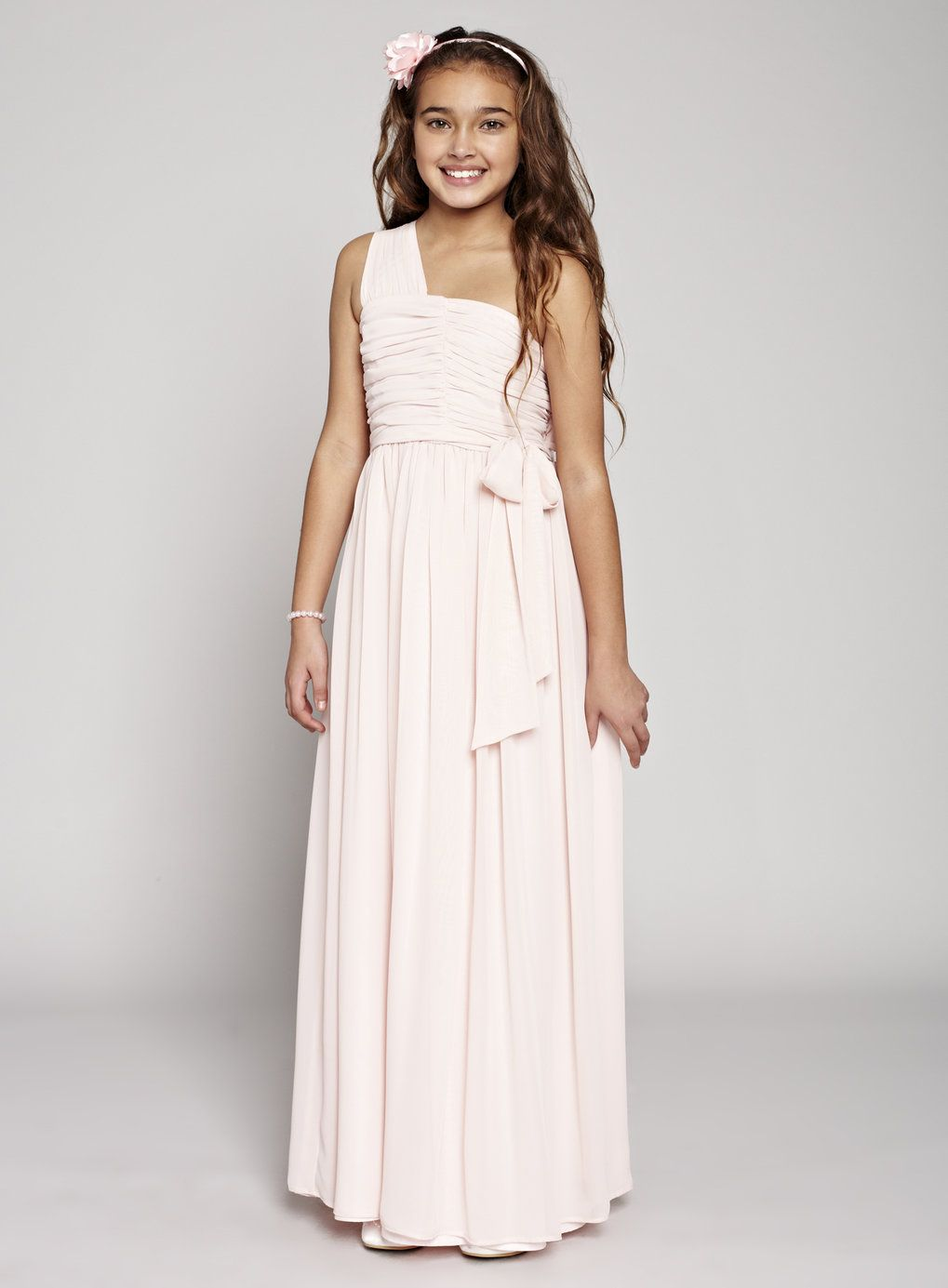 Teen blush one shoulder bridesmaid dress wedding bhs for Teenage dresses for a wedding