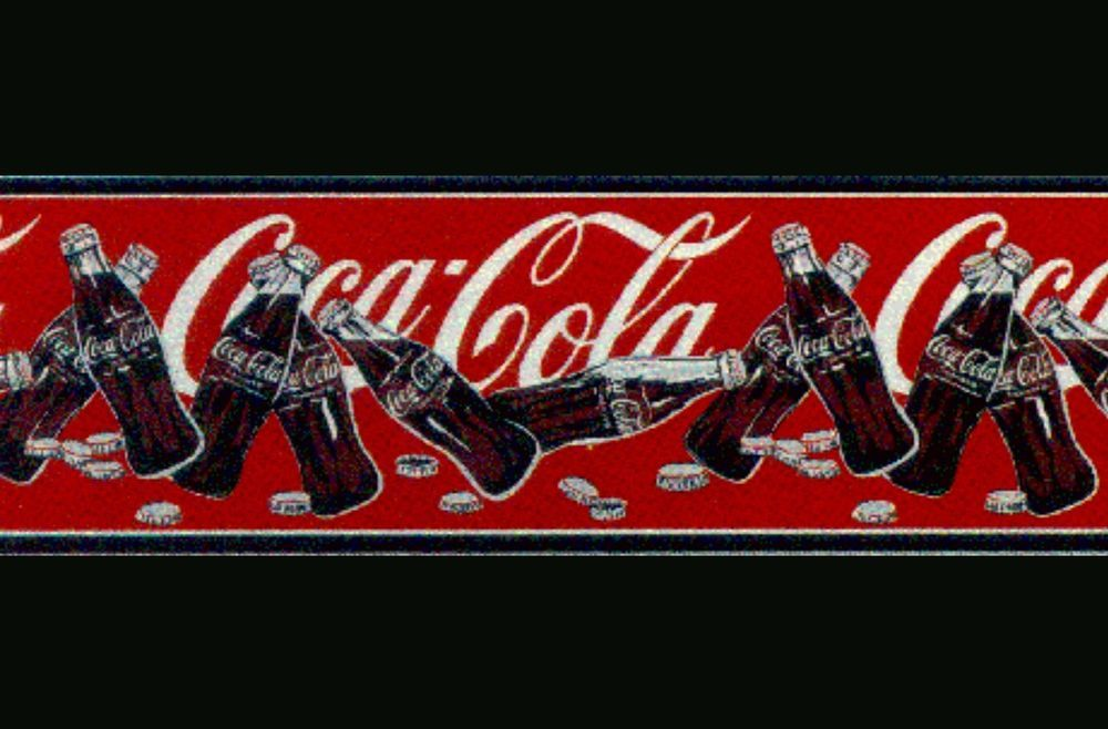 Roll Of Genuine Vintage Red Coca Cola Coke Soda Bottles Caps Wall paper Border #COCACOLA