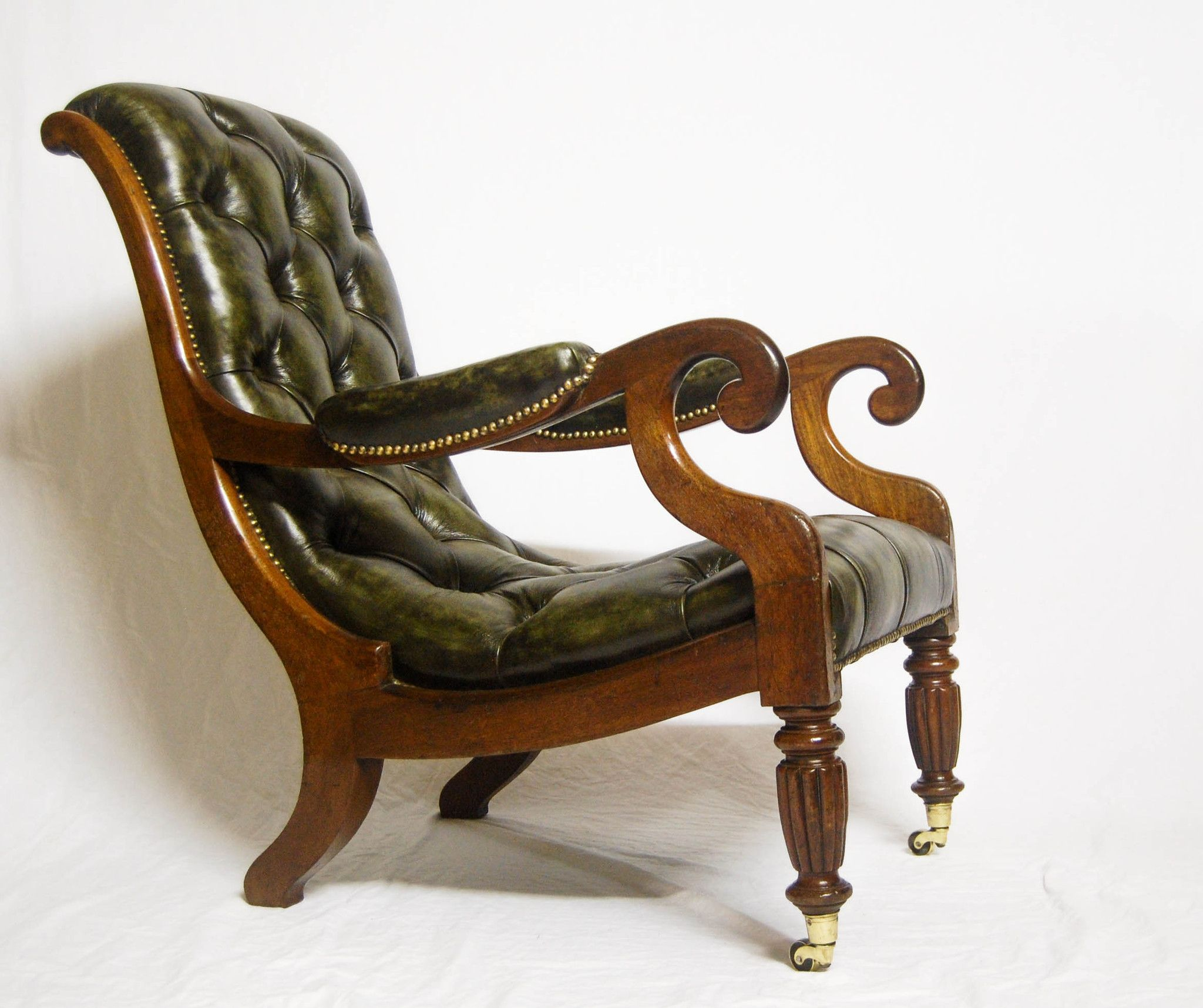 Antique slipper chair - Georgian Mahogany Leather Library Chair With Reeded Legs Brass Cas Jasonclarkeltd Antique