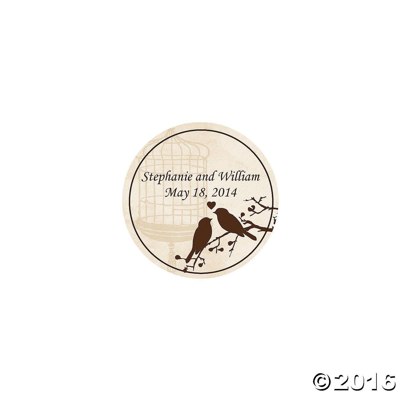 Personalized Love Birds Wedding Favor Stickers - OrientalTrading.com