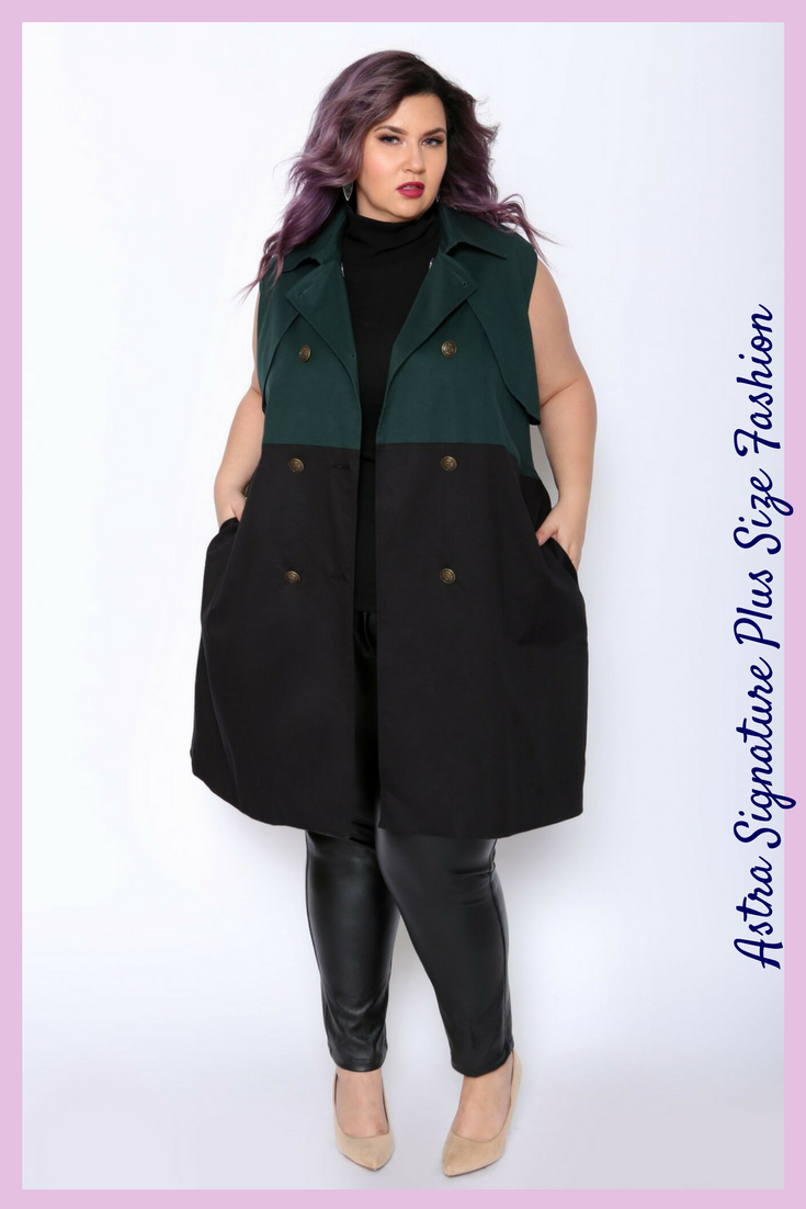 82ac95ebf1dfe Plus Size Green and Black Sleeveless Trench Coat. I think this would look  really cool with a black woolen sweater or a denim jacket.