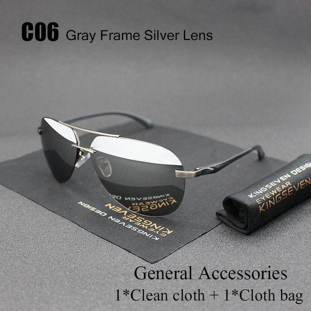 Polarized Sunglasses New Black Fishing Men Glasses Sport Mens Silver Lens Aviato