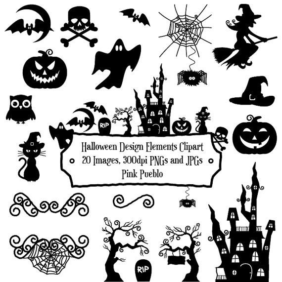 Halloween Silhouette Clipart Clip Art With Frame.halloween Clipart