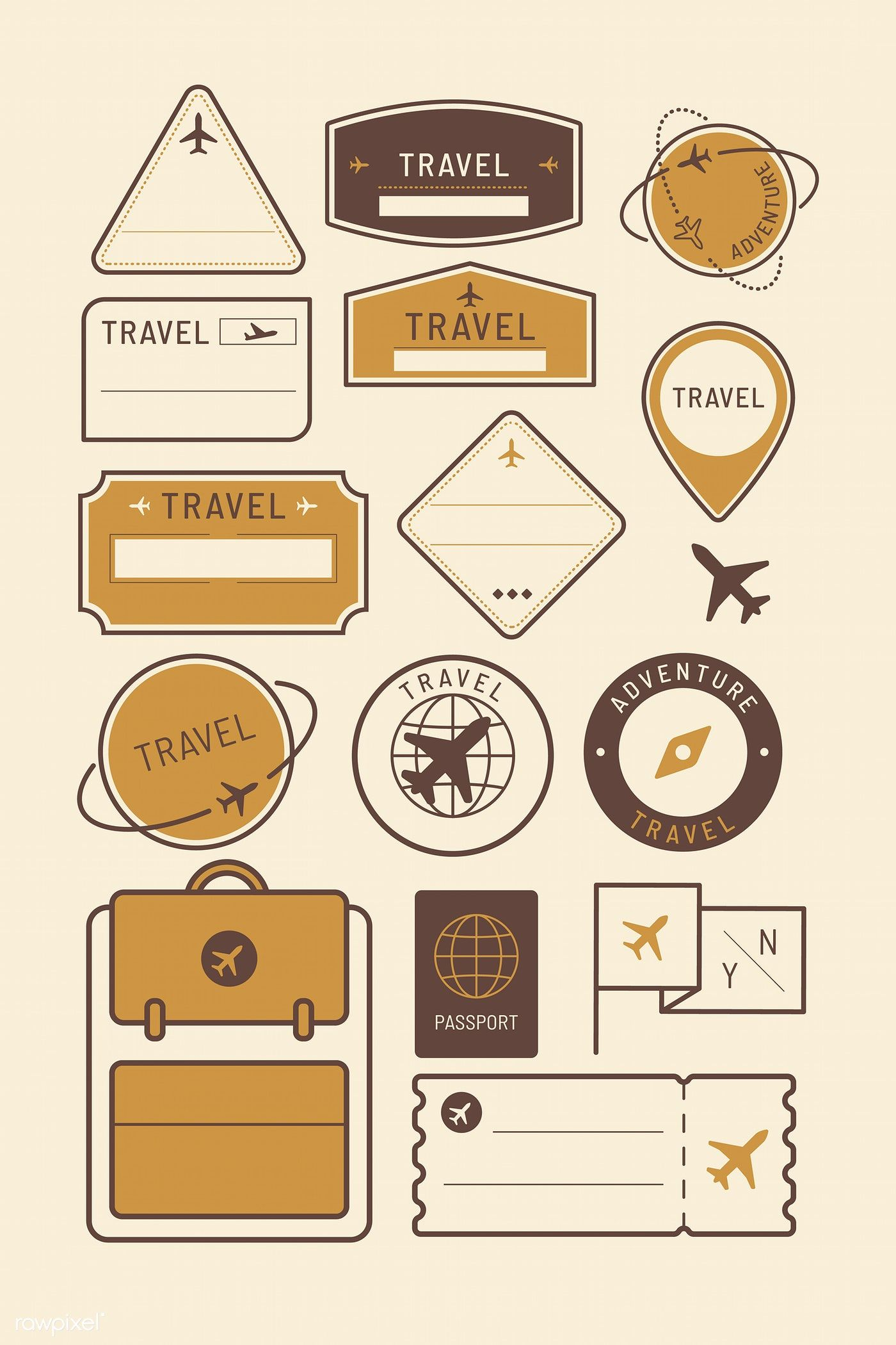 Download premium vector of Travel stickers and badge set vector 1229288