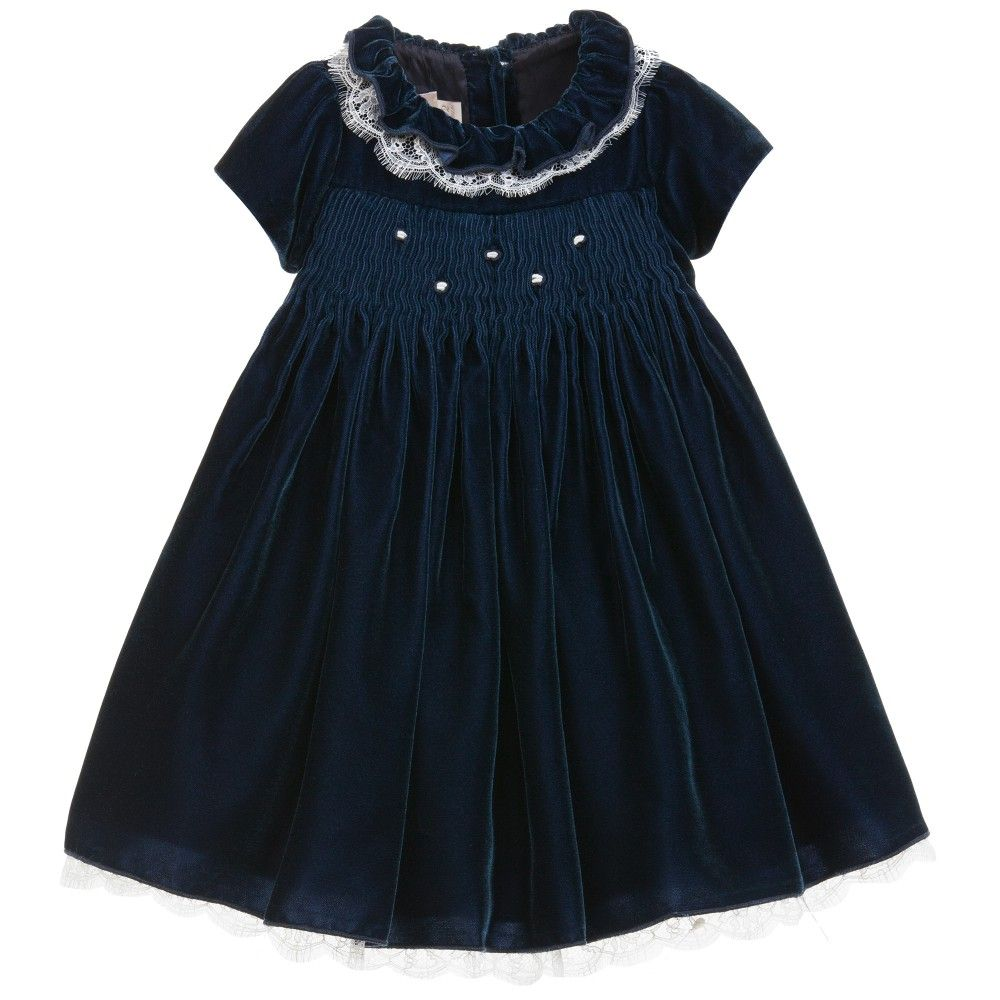 la stupenderia baby girls navy blue velvet dress at childrensalon