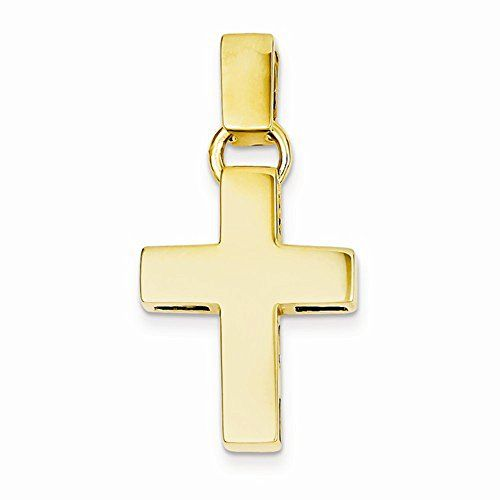 14K Yellow Gold High Polish Finish Slim Cross Pendant