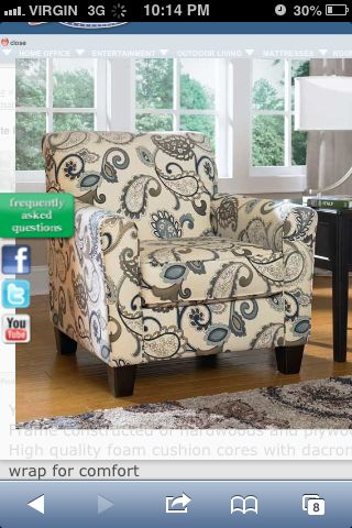 Yvette Paisley Accent Chair From Ashley Furniture I Just Bought This For My Living Room With Images Furniture Living Room Chairs Ashley Furniture